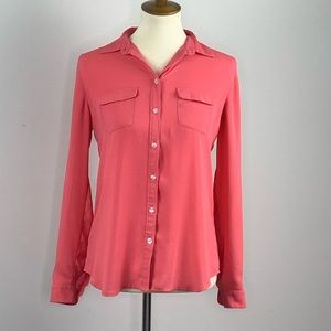 LOFT Career Button Blouse Coral Pockets Collar XS